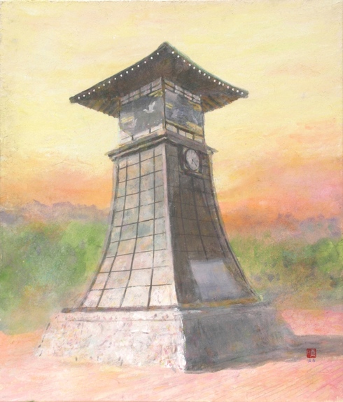 絵画「湯郷温泉からくり時計」