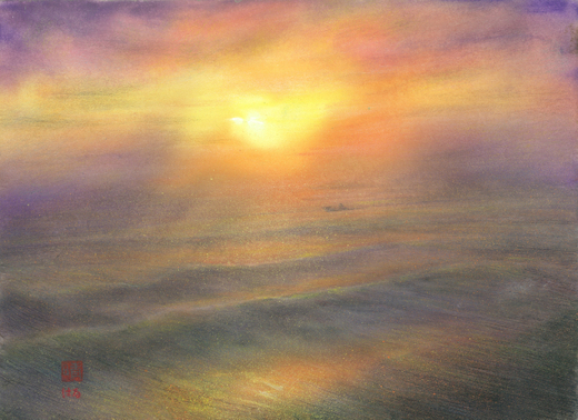 絵画「しまなみの夕景」/瀬戸内海の風景