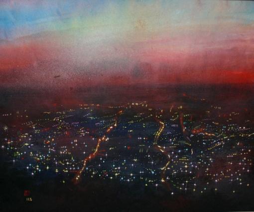 絵画「大阪平野の夜景」