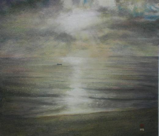 絵画「津軽海峡の朝陽」/風景