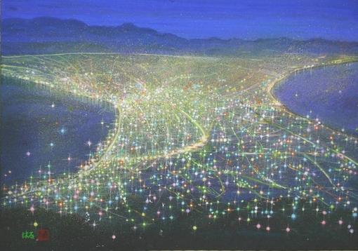 絵画「函館の夜景」