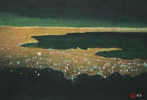 絵画「神戸の夜景」