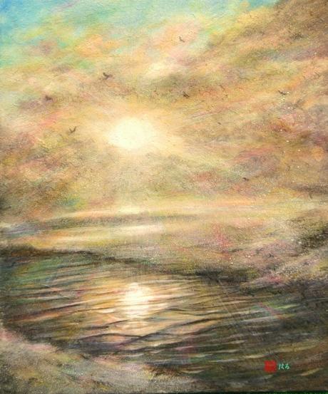 絵画「氷見の朝陽」/風景