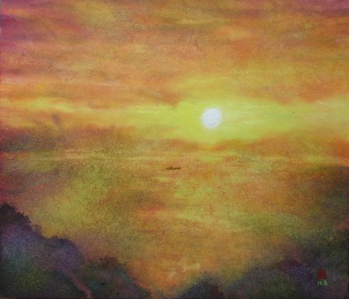 絵画「屋島の夕景」/風景