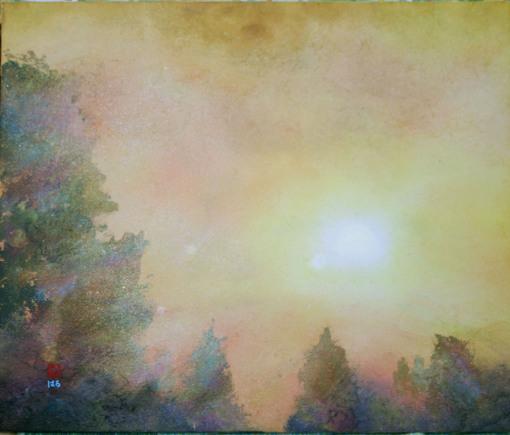 絵画「峠の朝陽」/風景