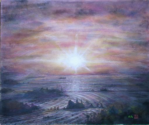 絵画「岬の朝陽」/風景