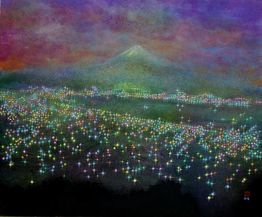 絵画「富士山の夜景」