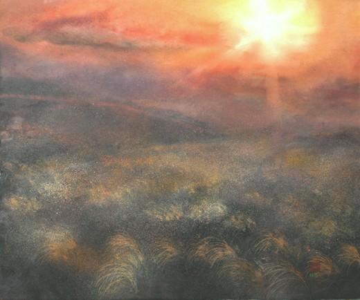 絵画「曽爾高原の風景」