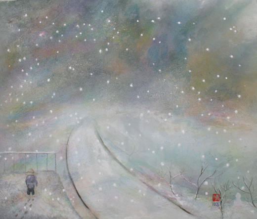 絵画「雪のプラットホーム/風景」