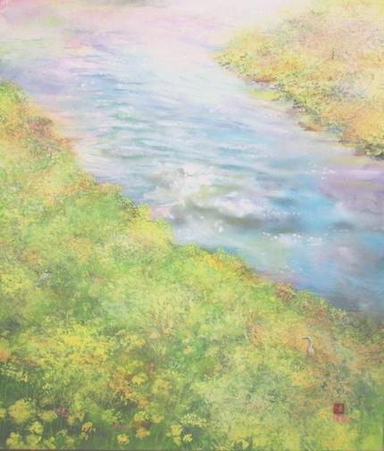 絵画「春の川」/風景