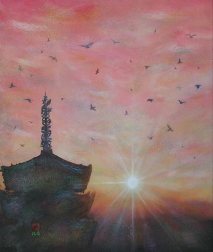 絵画「奈良の朝陽(興福寺)」
