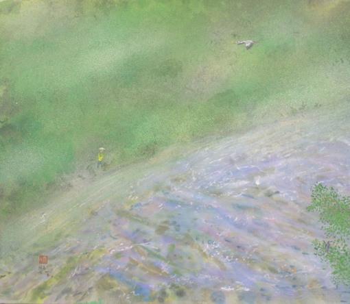 絵画「初夏の川」