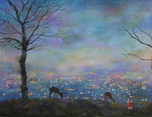 絵画「奈良の夜景(若草山)」