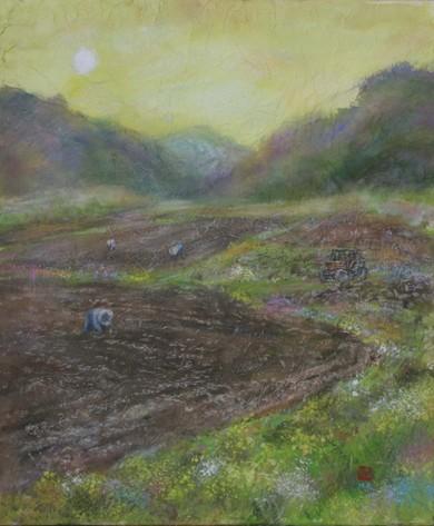 絵画「春の農村/風景」