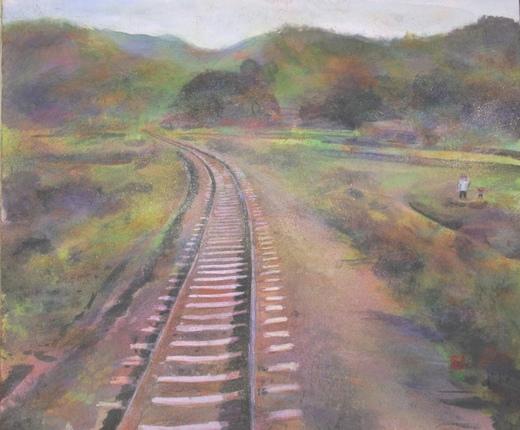 絵画「線路のある風景」