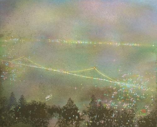 絵画「関門海峡の夜景」