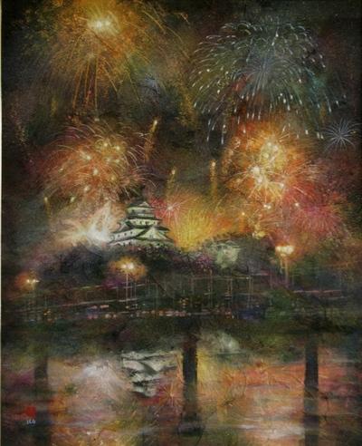 絵画「唐津の花火」