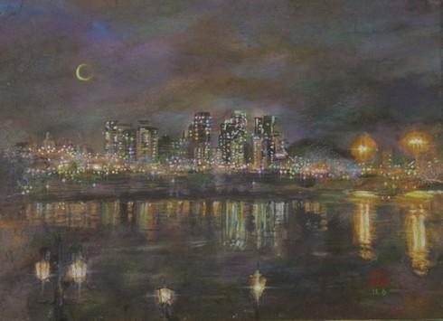 絵画「ソウルの夜景」