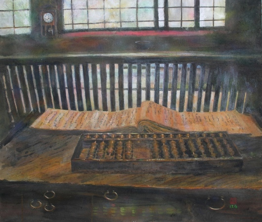 絵画「近江商人屋敷にて」