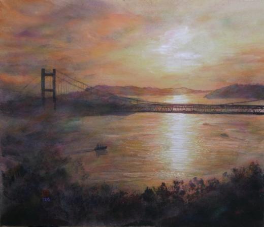 絵画「瀬戸大橋と鷲羽山」