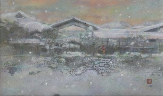 絵画「飛騨古川の温泉宿」
