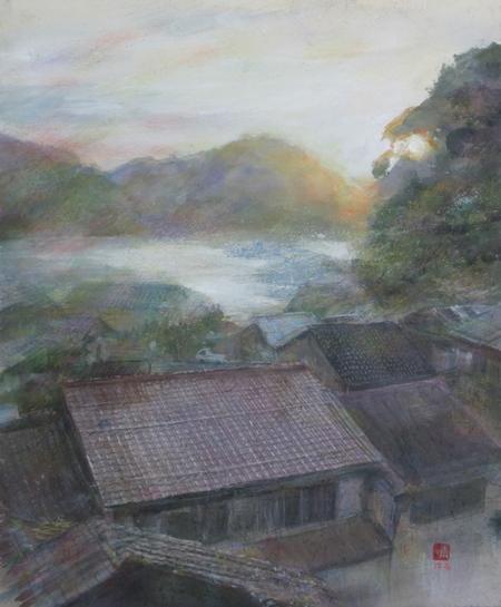 絵画「温泉津温泉の風景」