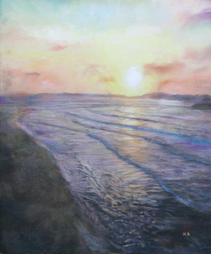 絵画「日本海の夕暮れ」