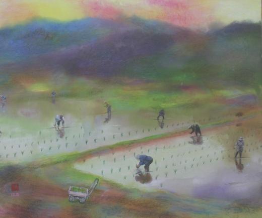 絵画「田植えの風景」