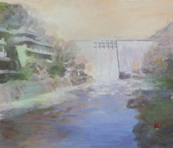 絵画「湯原温泉の砂湯」