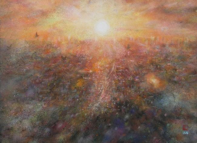 絵画「大阪平野の夕陽」