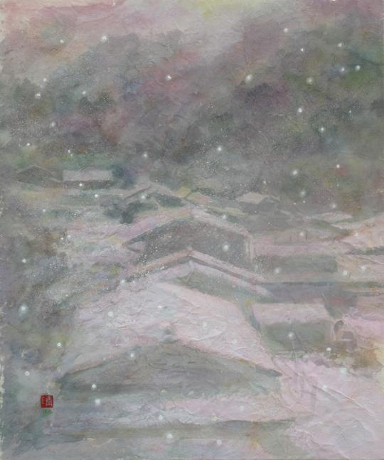絵画「奥飛騨の冬景色」
