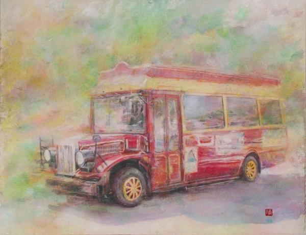 絵画「湯郷温泉のボンネットバス」