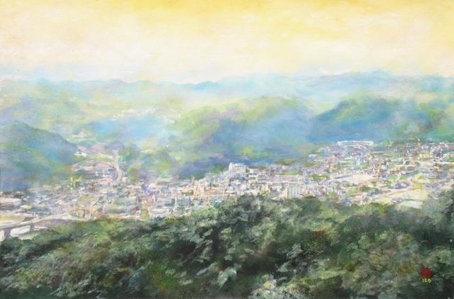 絵画「大山展望台にて/湯郷温泉」