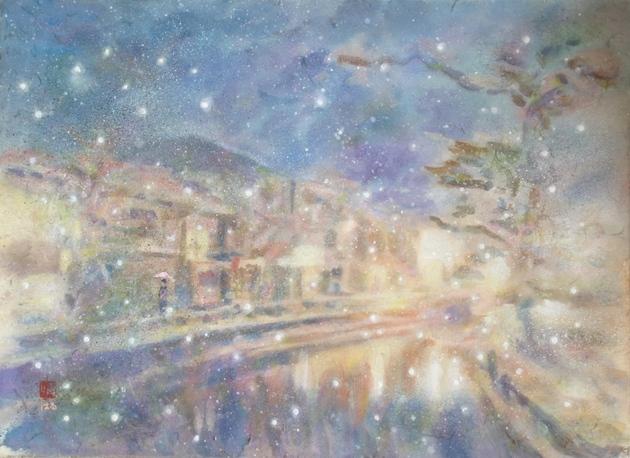 城崎の冬(絵画/風景)