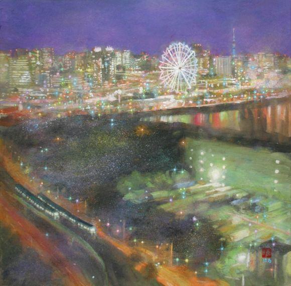 絵画「テレコムセンター展望台の夜景」(パレットタウン~東京スカイツリー)