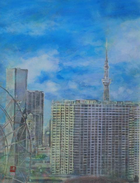 お台場・テレコムセンター展望台から東京スカイツリーを遠望 /絵 井上晴雄