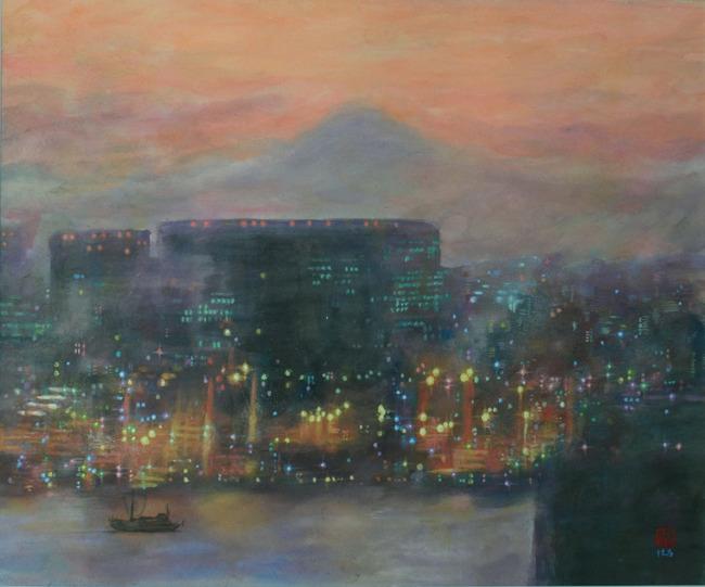 お台場「テレコムセンター展望台」から眺望する富士山の夕景/絵と文 井上晴雄