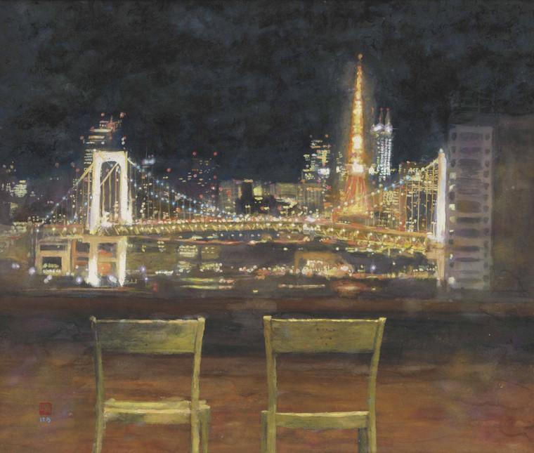 テレコムセンター展望台の夜景(東京タワー、レインボーブリッジの方角を望む)(絵)井上晴雄(いのうえはるお)