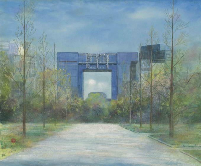 お台場 テレコムセンターのある風景(絵 井上晴雄)
