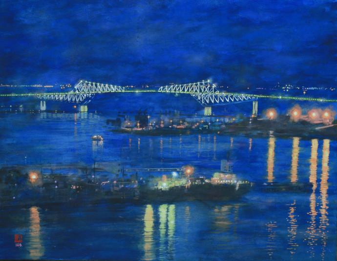 「東京ゲートブリッジと東京湾の夜景」(テレコムセンター展望台からの夜景)絵 井上晴雄
