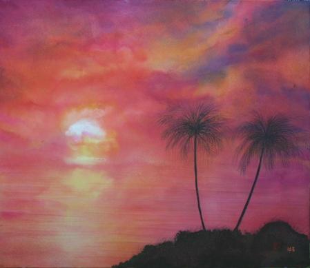 絵画「夏の夕暮れ」/風景