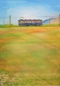 絵画「小麦畑とローカル線」/風景