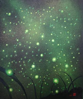 絵画「ホタルの夜」/夜景