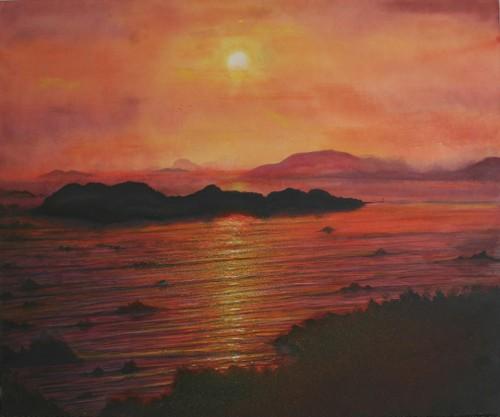 絵画「瀬戸内海」風景