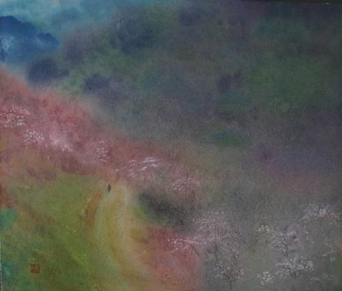 絵画「山峡の道」/風景