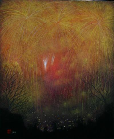 絵画「夜景と花火」