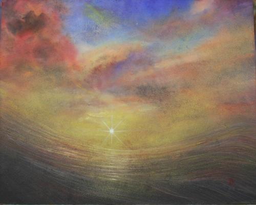 絵画「黒潮の夜明け」/風景