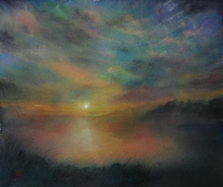 絵画「湖沼の落日」/風景