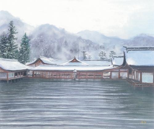 絵画「厳島神社の冬景色」風景